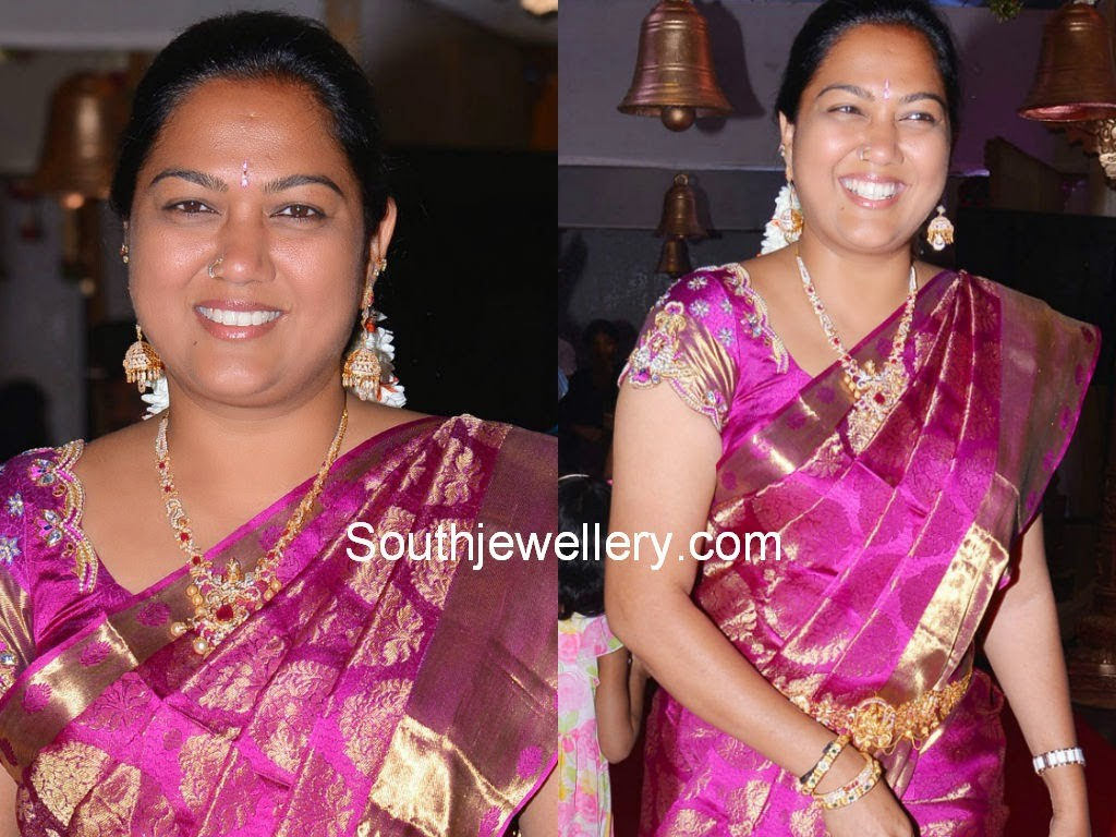 Actress Hema in Diamond Necklace and Diamond Jhumkas
