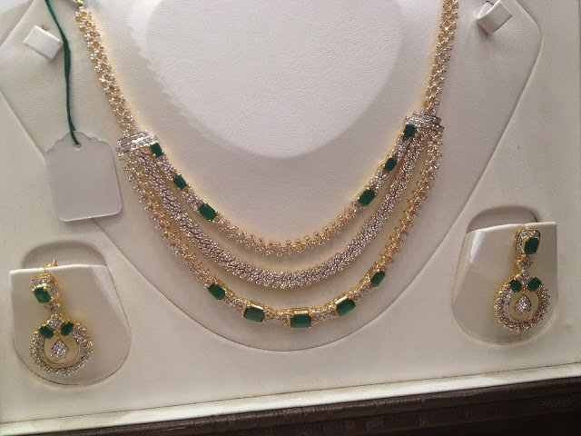 Cubic Zircons and Emeralds Necklace