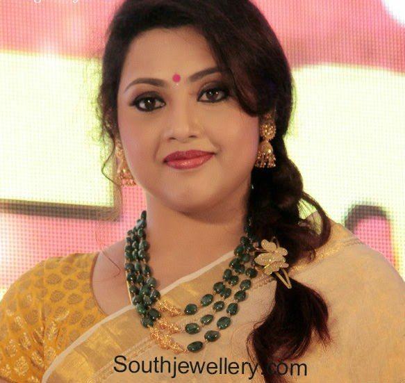 Meena in Emearlds Mala and Jhumkas