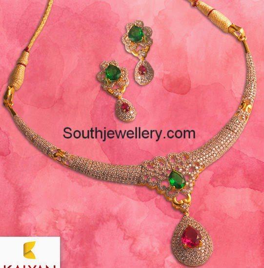 Stylish Diamond Necklace From Kalyan Jewellers Jewellery