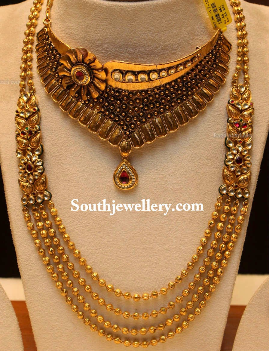 antique kundan gundla mala jewellery designs