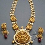 Pearls Flat Diamonds Nakshi Jewellery Set