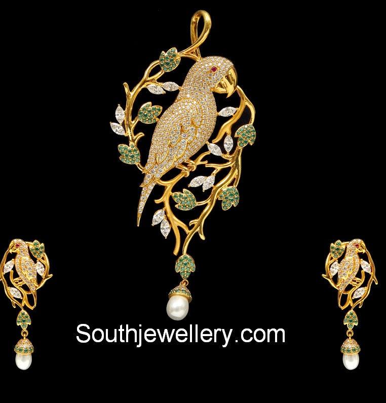 gold parrot pendant set