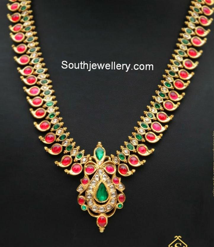 ruby emerald mango haram jewellery designs