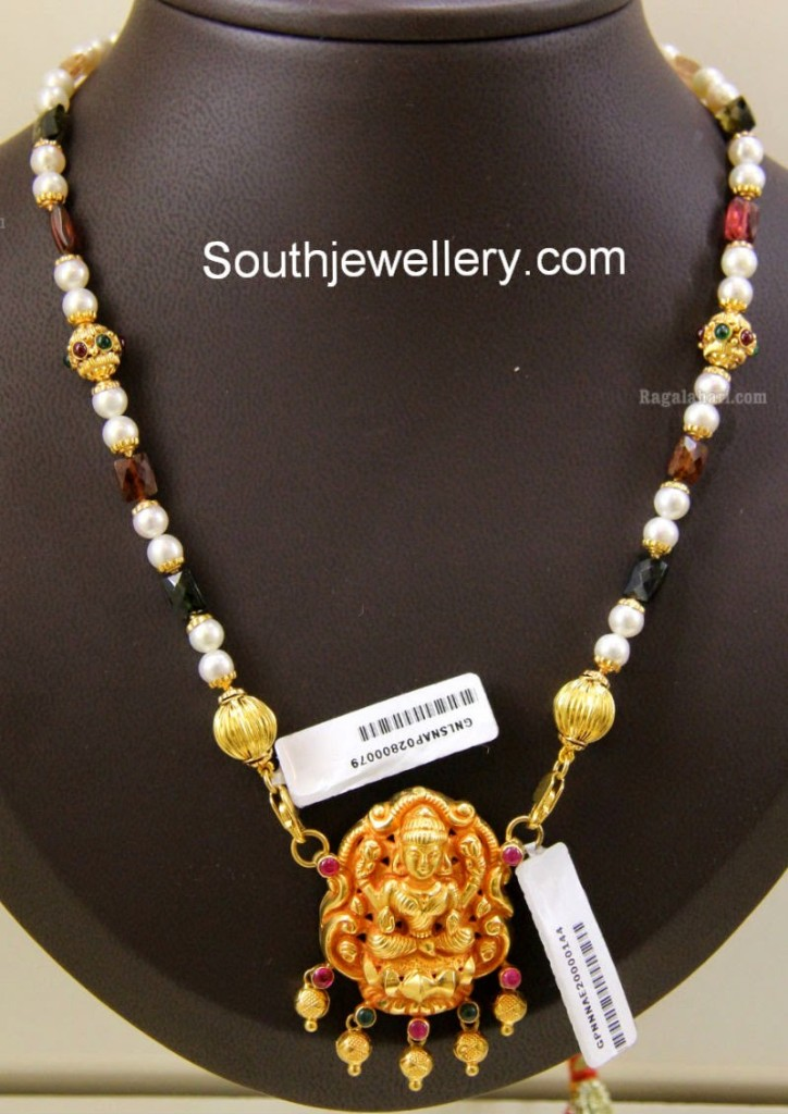beads mala with lakshmi pendant