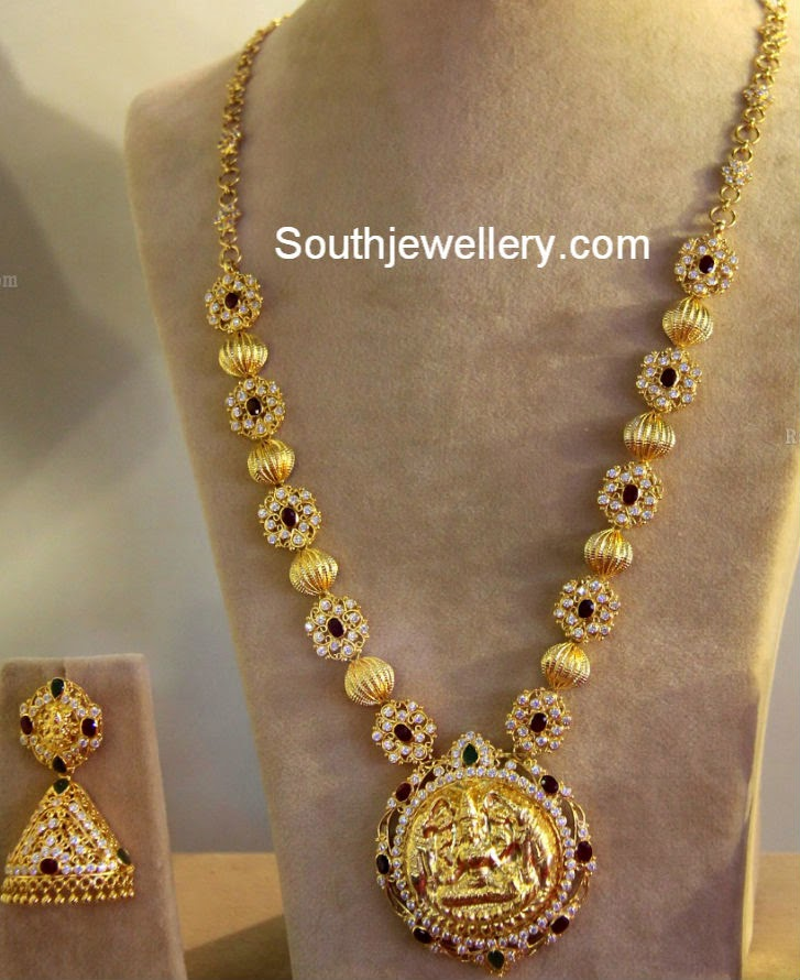 Cz Stones Motifs And Gold Balls Necklace Jewellery Designs