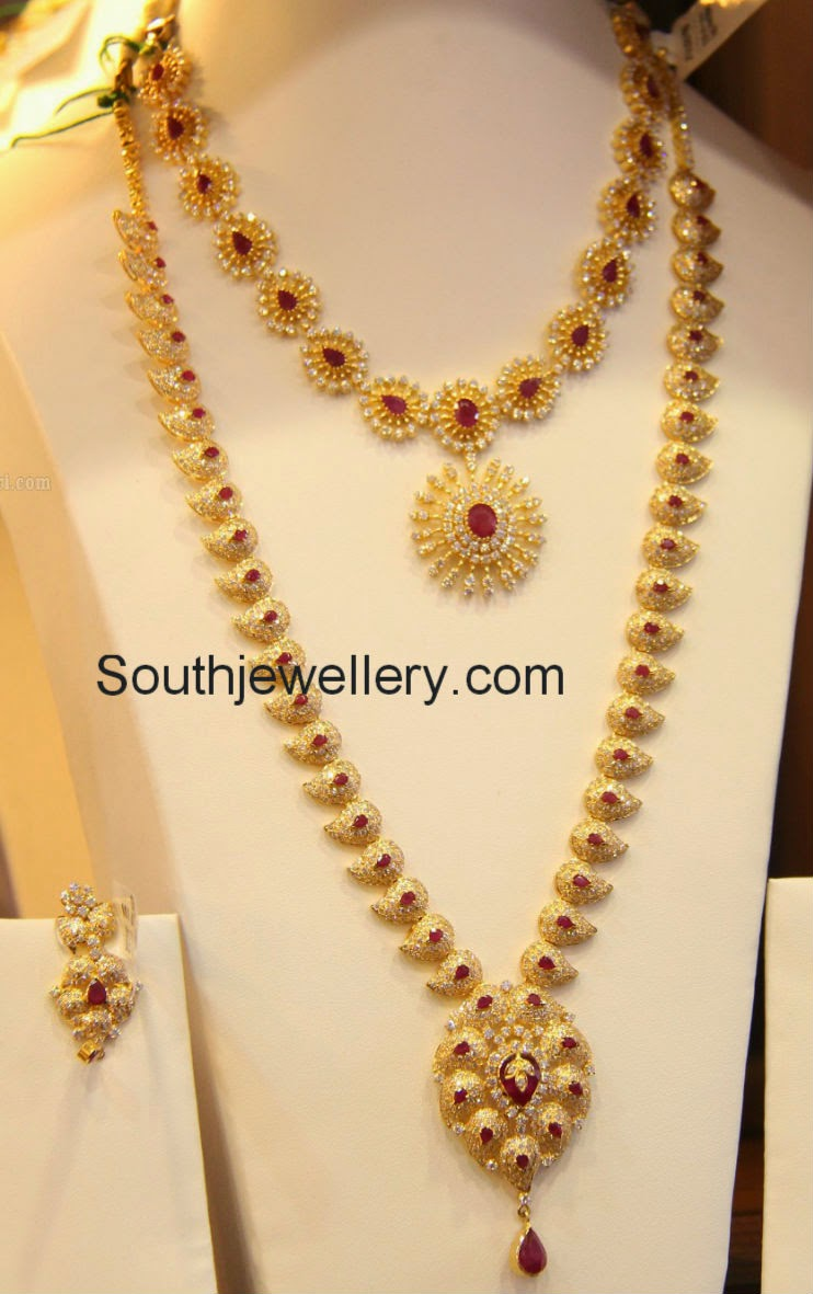 Cz stones necklace and mango mala jewellery designs for Designs com