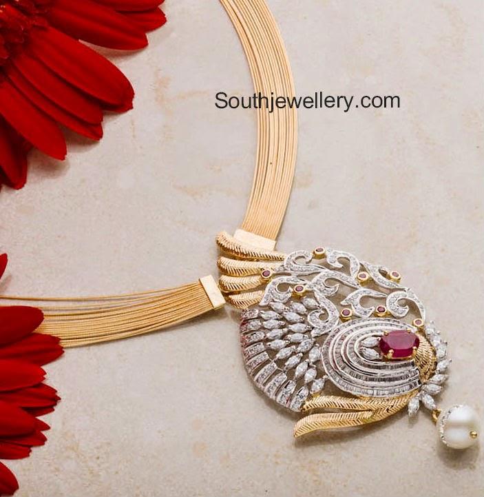 multichain gold necklace with diamond pendant