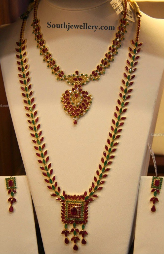 Ruby Emerald Necklace Set Jewellery Designs