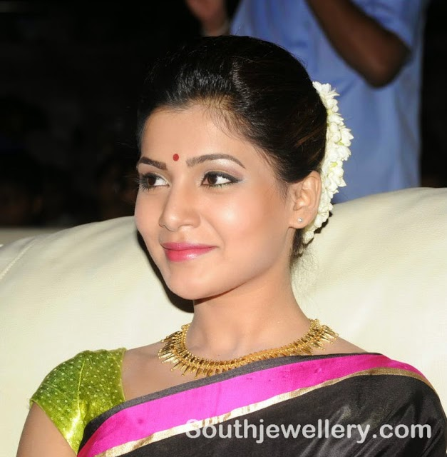 Samantha in Traditional Necklace and Jhumkas