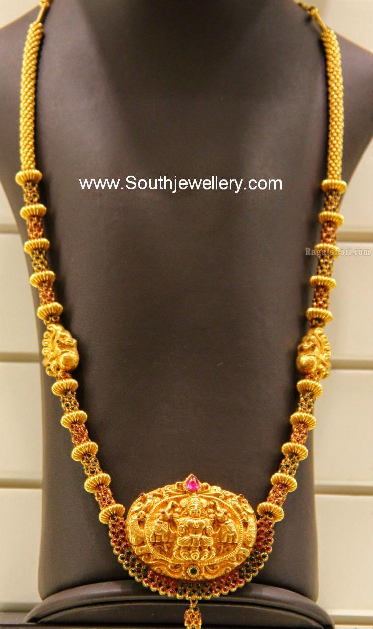 Suhasini in gundla haram jewellery designs - Gold Long Chain With Lakshmi Pendant