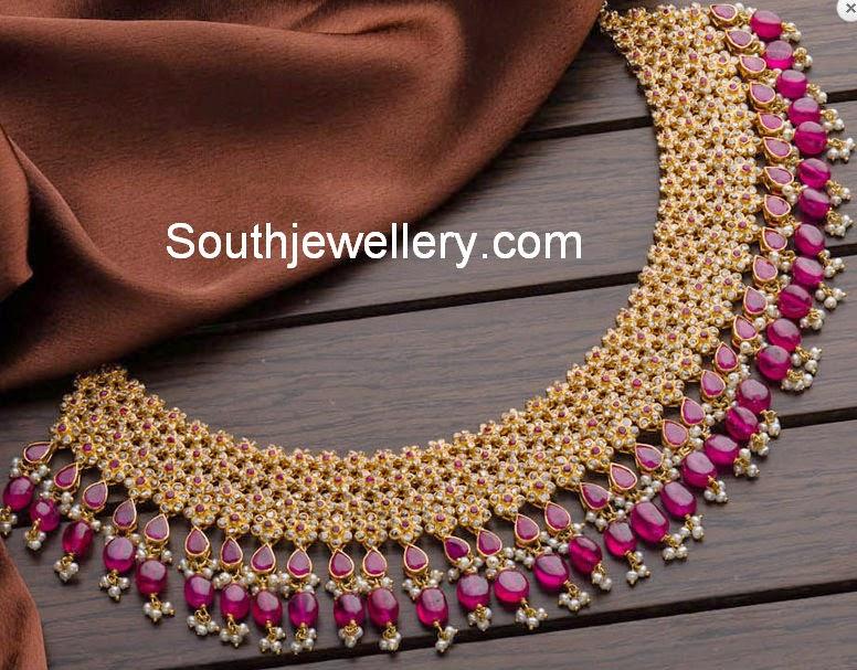 uncut diamond ruby necklace designs