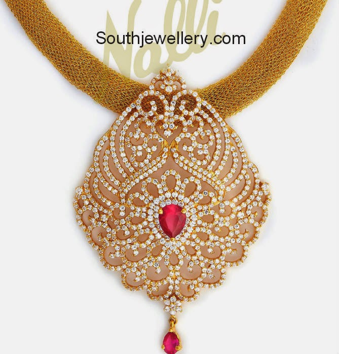 gold mesh necklace with cubic zircon pendant