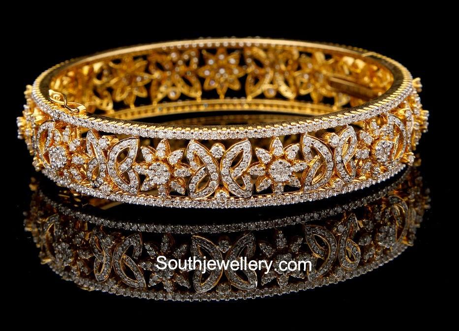elegant simple diamond bangle jewellery designs