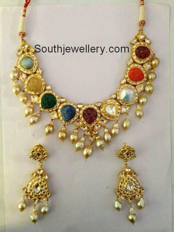 Jadau Polki Navratna Necklace Set Jewellery Designs