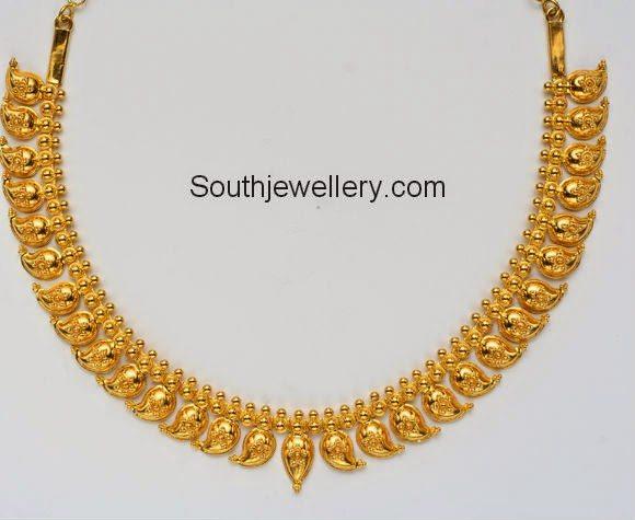 simple gold mango necklace