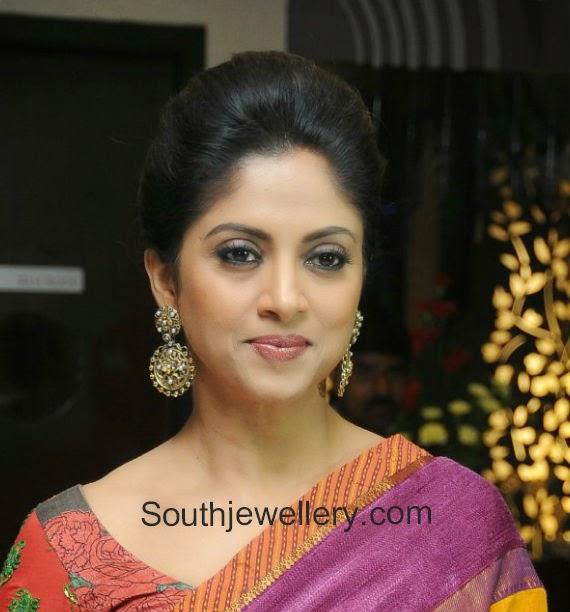 Nadhiya in Antique Earrings and Kada