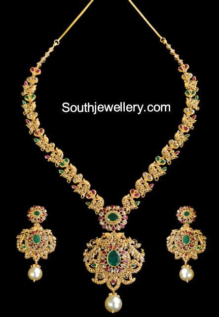 pin designs indian necklace diamond jewellery nakshi and uncut