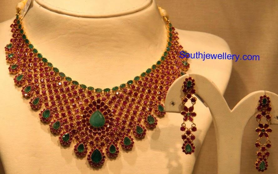 ruby emerald bridal necklace