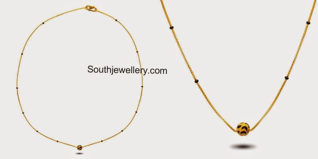 short black beads light weight mangalsutra chains