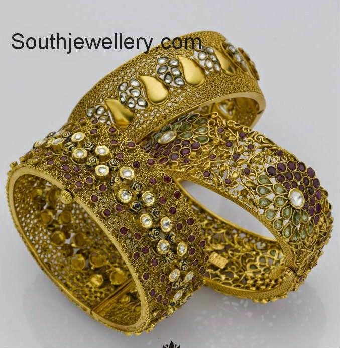 antique finish broad bangles