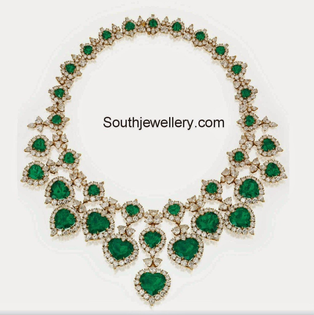 diamond emeralds statement necklace