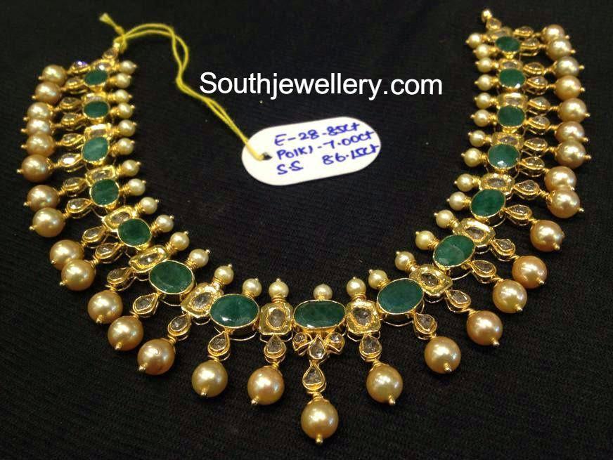 Emerald Polki Necklace Jewellery Designs