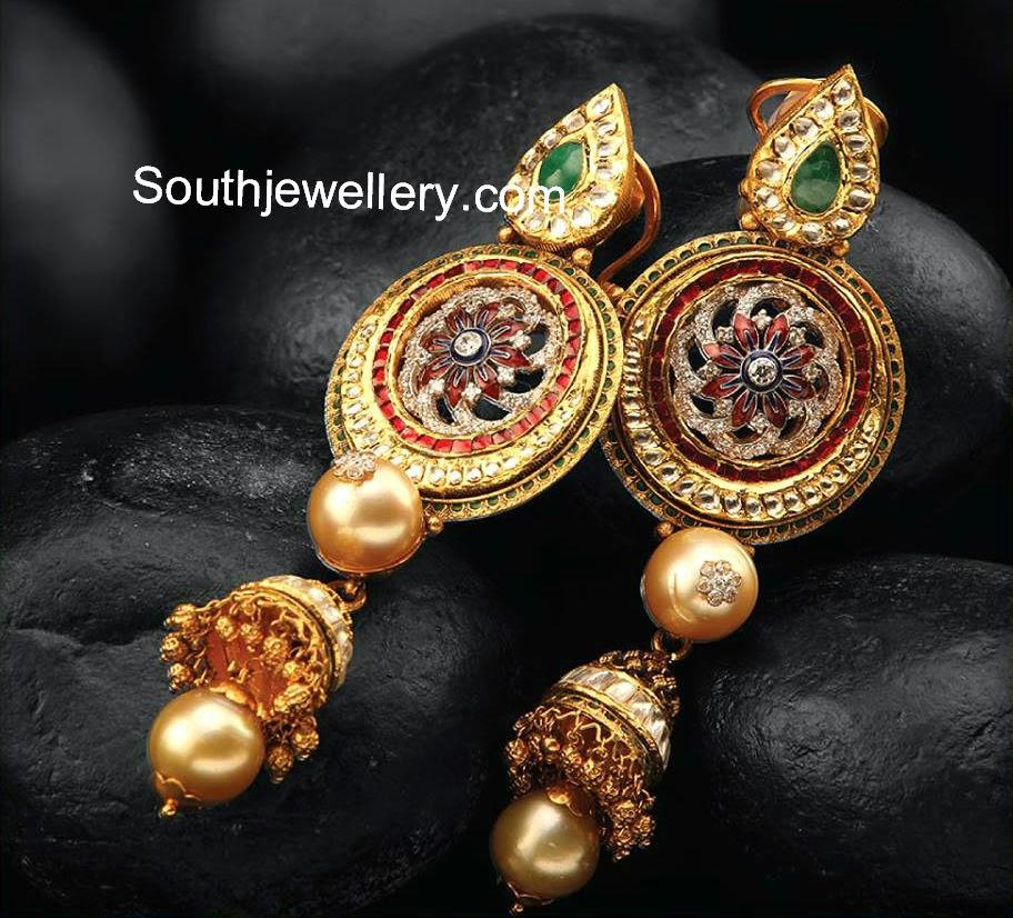 party wear gold long earrings