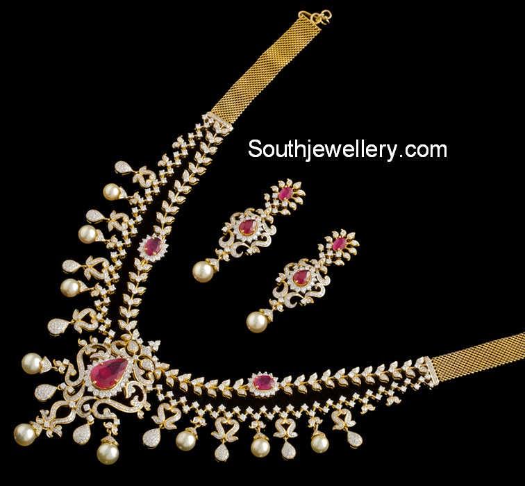 ruby diamond necklace set
