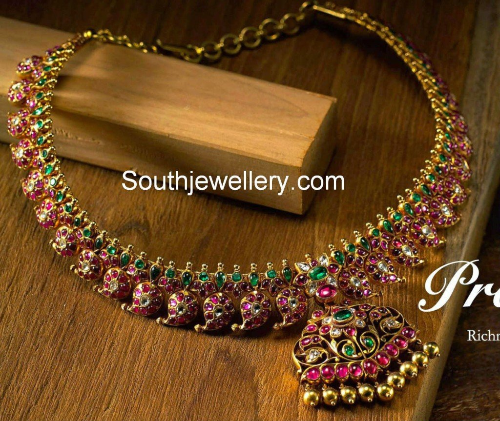 ruby emerald mango necklace