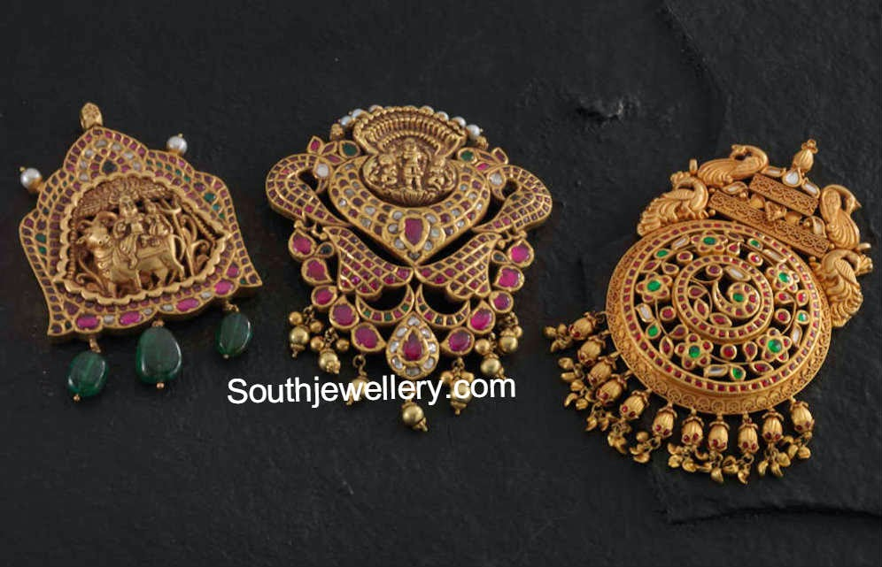 Antique gold pendants jewellery designs antique temple jewellery pendants aloadofball Images