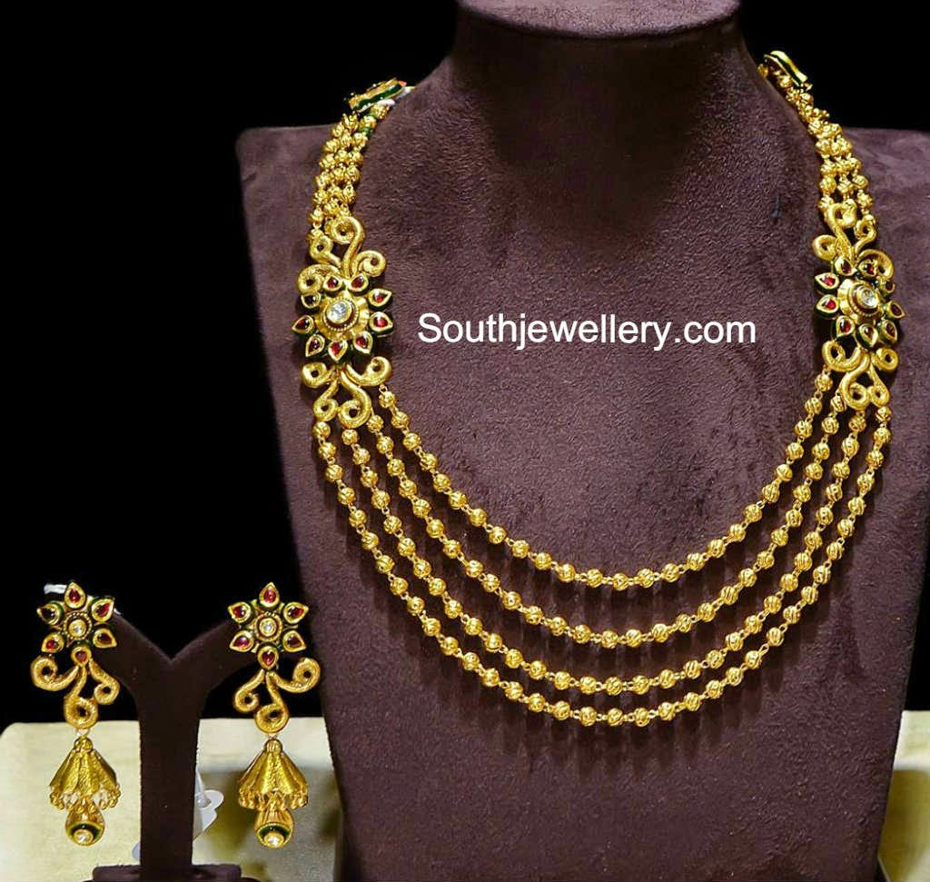 47651edc0 Elegant Antique Gold Balls Necklace Set - Jewellery Designs