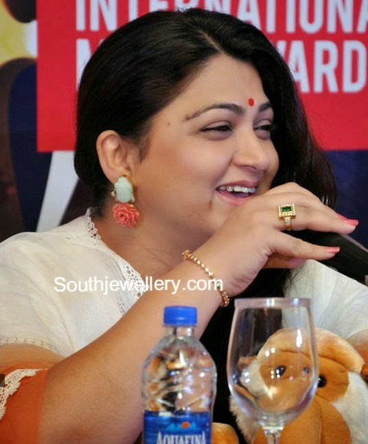 Kushboo in Carved Buddha and Coral Rose Earrings