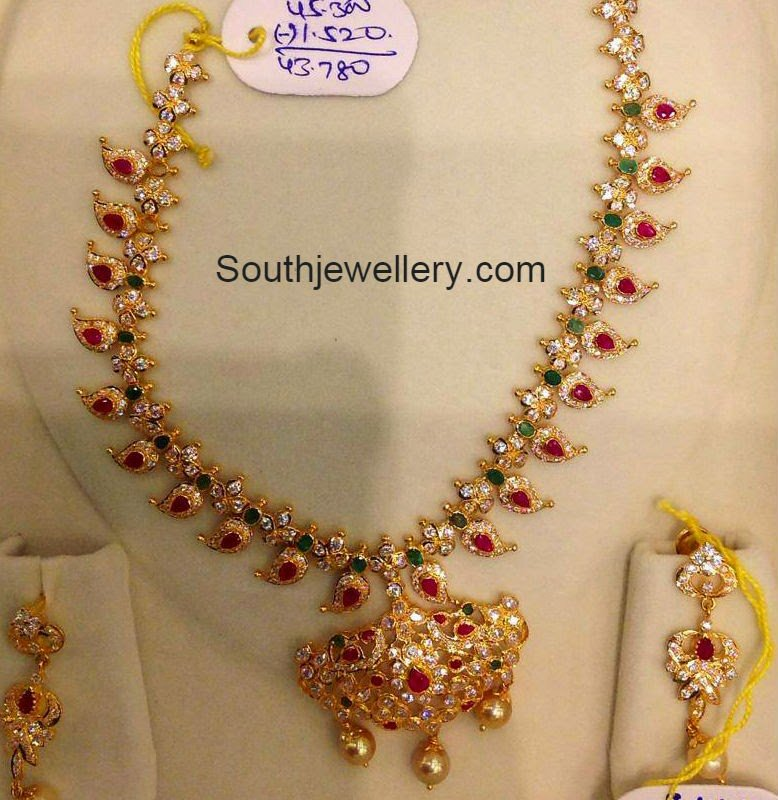 Cz And Ruby Simple Mango Necklace Sets Jewellery Designs