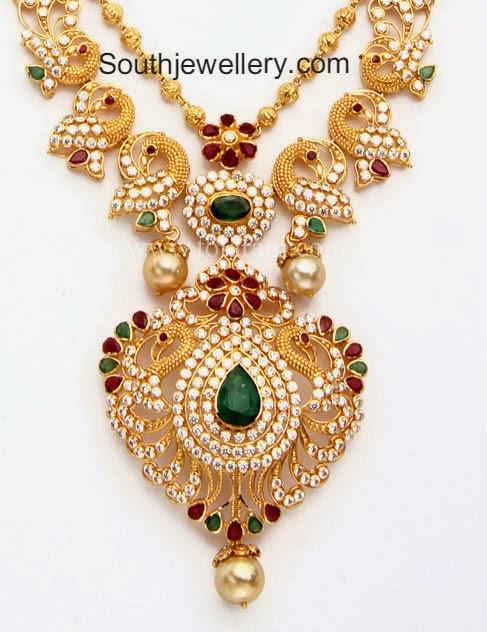 Cz Stones Peacock Gundla Haram Jewellery Designs