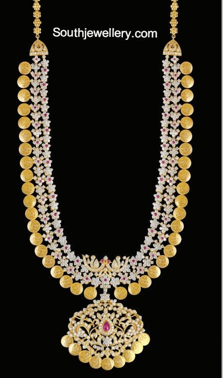 Bridal Diamond Kasulaperu Haram Jewellery Designs