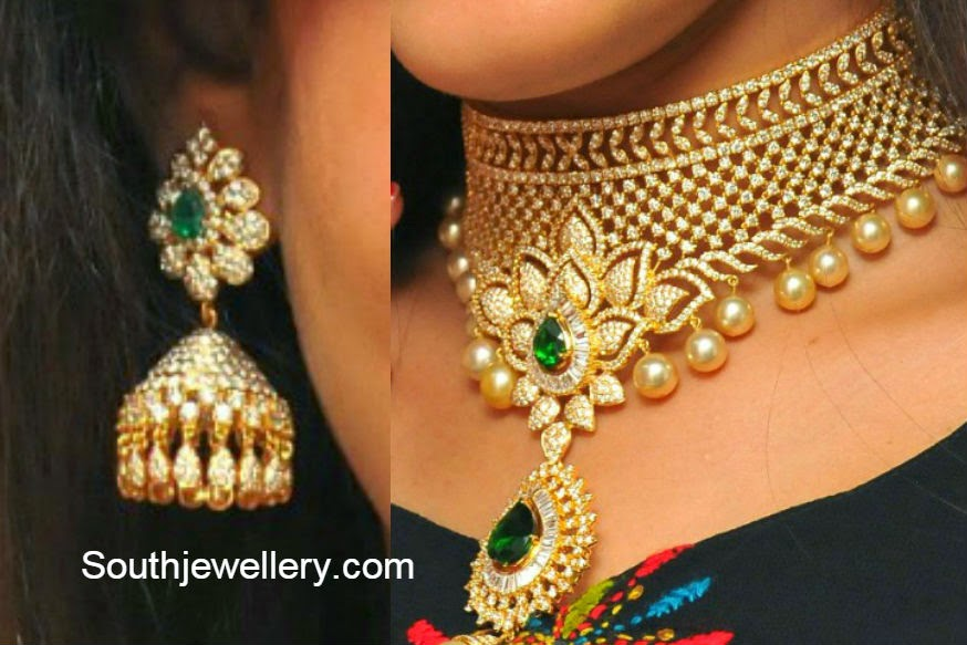 diamond necklace and jhumkas