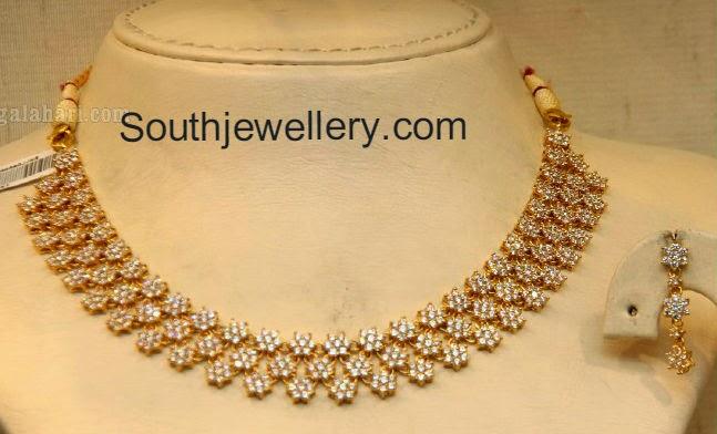 cz stones floral necklace
