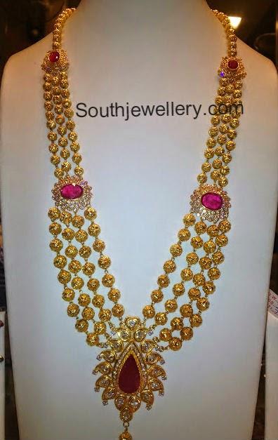 Diamond necklace set by khazana jewellers latest jewellery designs - 70 Grams Gundla Haram Jewellery Designs