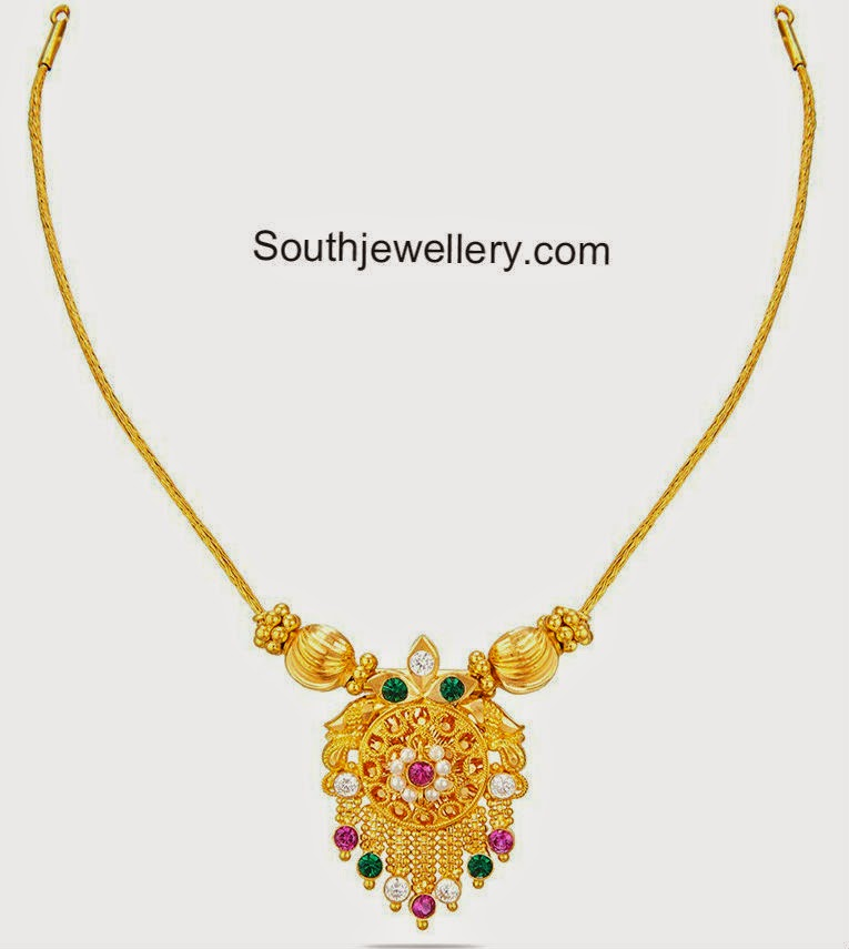 Light Weight Gold Necklace - Jewellery Designs