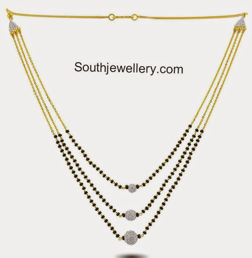 three step black beads chain