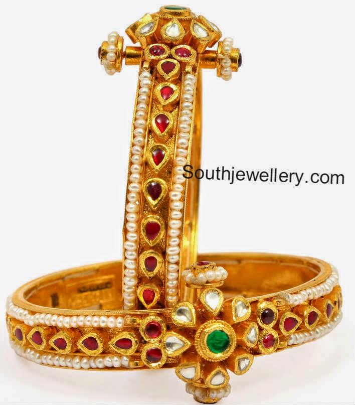 Pearl Kundan Bangles Jewellery Designs