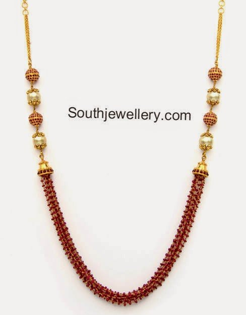 Ruby Beads And South Sea Pearls Necklace Jewellery Designs