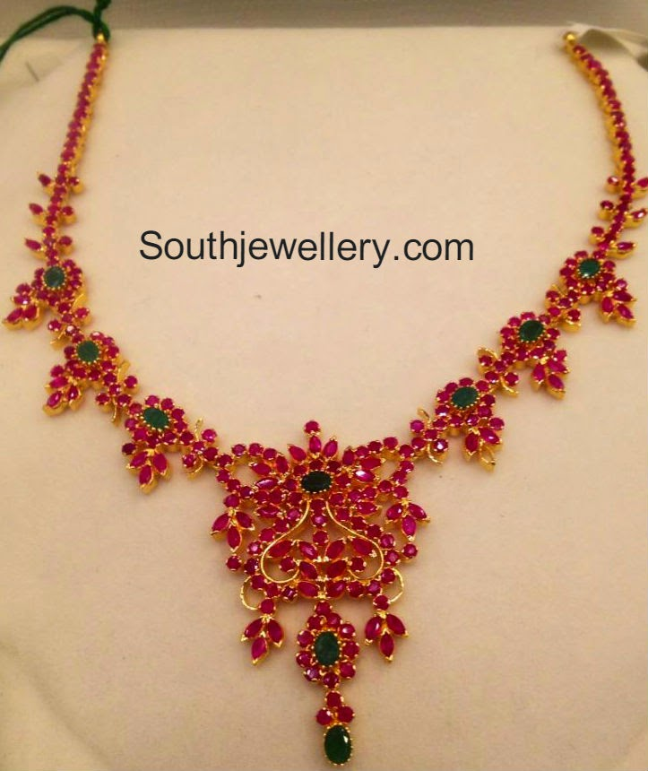 Simple Ruby Emerald Necklace - Jewellery Designs