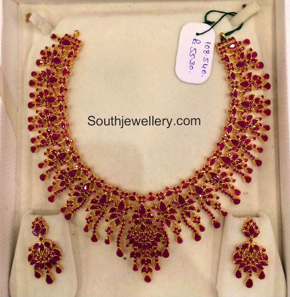 Elaborate Ruby Necklace Set Jewellery Designs
