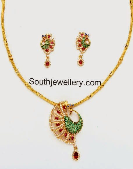 simple gold chain with cz peacock pendant sets jewellery