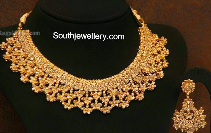 light diamond weight jewels necklace gold naj uncut south india