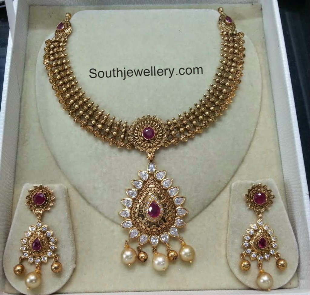antique necklace with cz stones