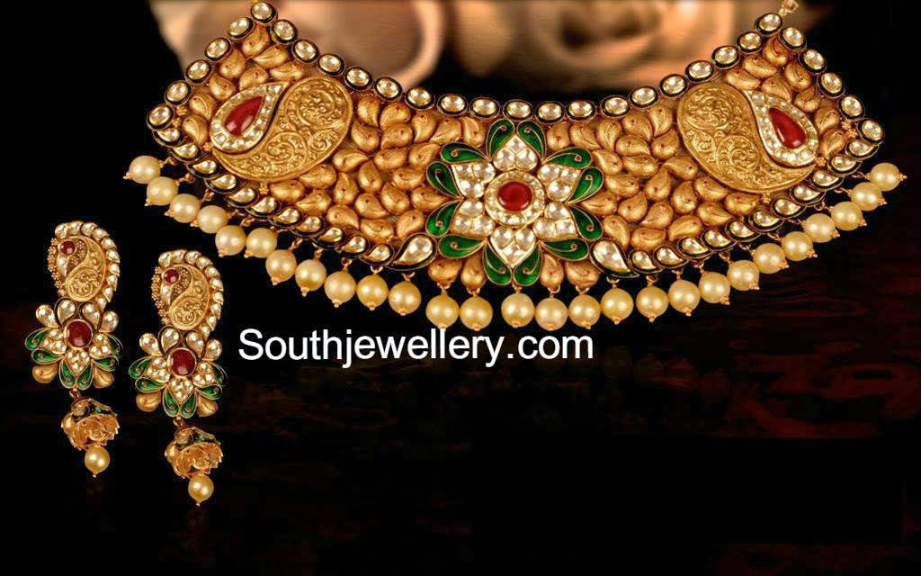 Indian Antique Gold Necklace Sets Antique Kundan Necklace Set