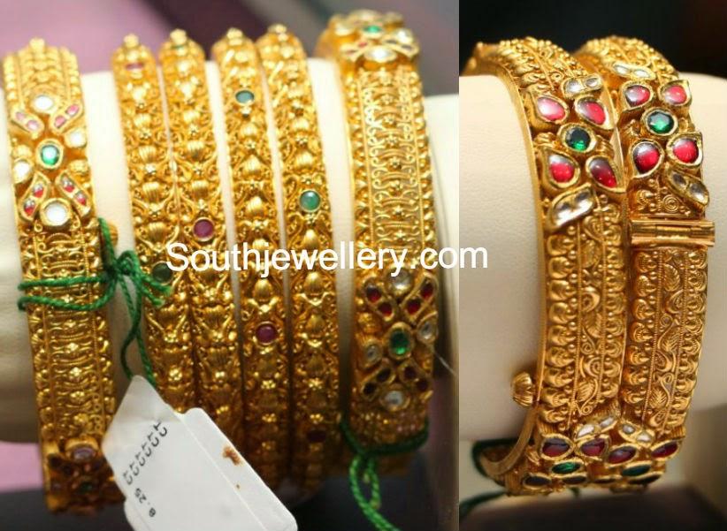 Beautiful Gold Bangles Set Jewellery Designs